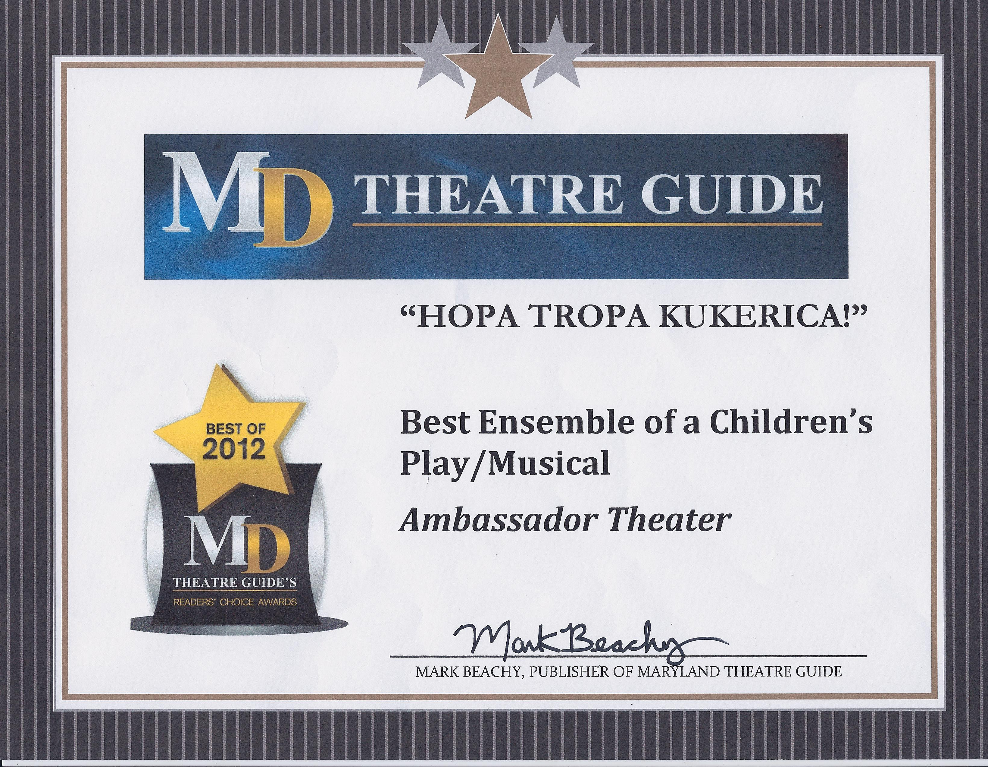 Hopa Tropa Kukerica Awarded Best Ensemble for 2012