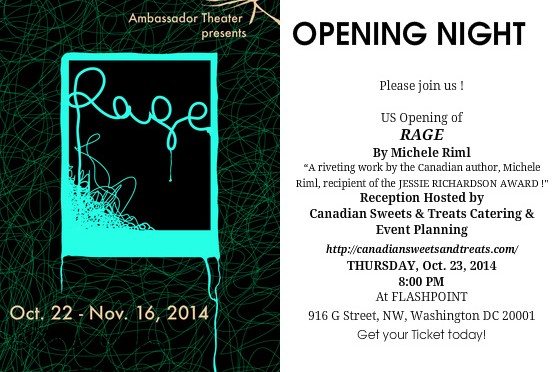 OPENING NIGHT OF RAGE October 23, 2014 at 8 PM FLASHPOINT 916 G Street, NW, Washington DC 20001