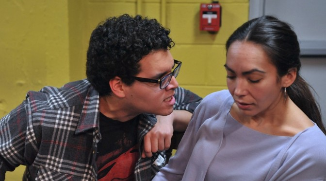 "Ariana Almajan (as Laura Whalen) and Marlowe Vilchez (As Raymond Stitt) in ""Rage"" by Michele Riml Directed by Joe Banno"